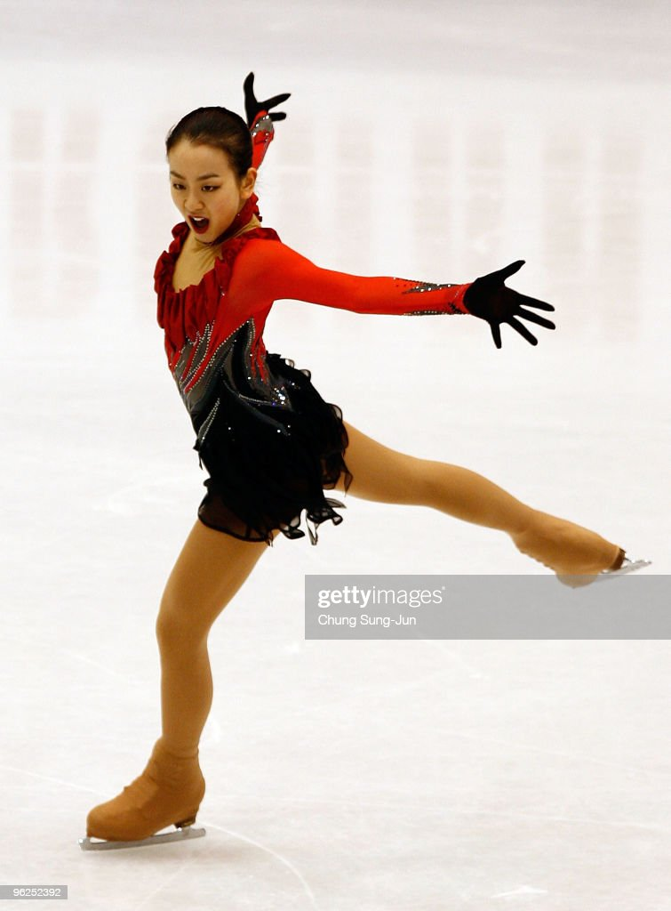 <a gi-track='captionPersonalityLinkClicked' href=/galleries/search?phrase=Mao+Asada&family=editorial&specificpeople=247229 ng-click='$event.stopPropagation()'>Mao Asada</a> of Japan performs in the Ladies free program during the ISU Four Continents Championship at Hwasan Ice Arena on January 29, 2010 in Jeonju, South Korea.
