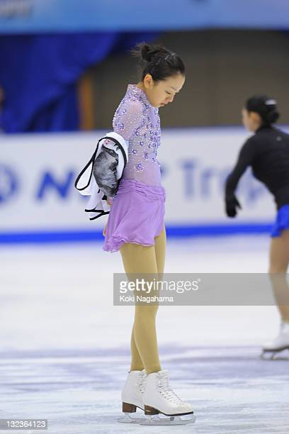 Mao Asada of Japan performs in the official training during day two of the ISU Grand Prix of Figure Skating NHK Trophy at Makomanai Sekisui Heim...