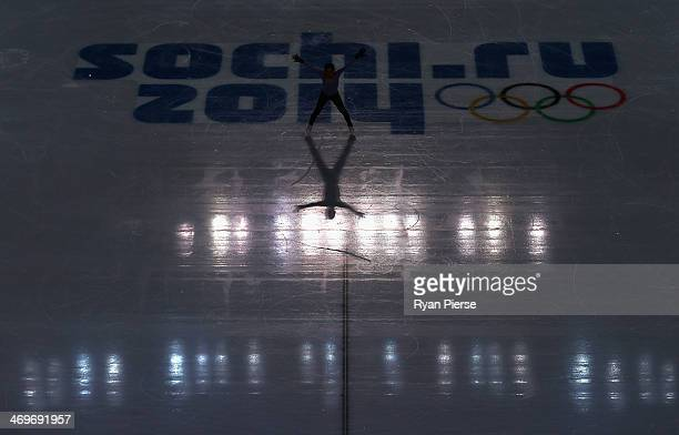 Mao Asada of Japan practices during Ladies Figure Skating training at Iceberg Skating Palace on day 9 of the Sochi 2014 Winter Olympics on February...