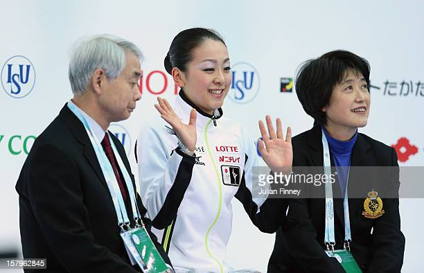 Mao Asada of Japan receives her scores after performing in the Ladies Free Skating during the Grand Prix of Figure Skating Final 2012 at the Iceberg...