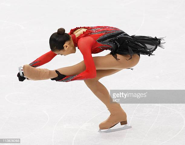 Mao Asada of Japan skates in the women's free skate on Thursday February 25 during the 2010 Winter Olympics in Vancouver British Columbia