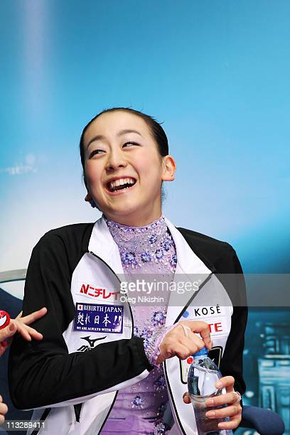 Mao Asada of Japan waits for the results at the end of the Ladies Free Skating during day seven of the 2011 World Figure Skating Championships at...