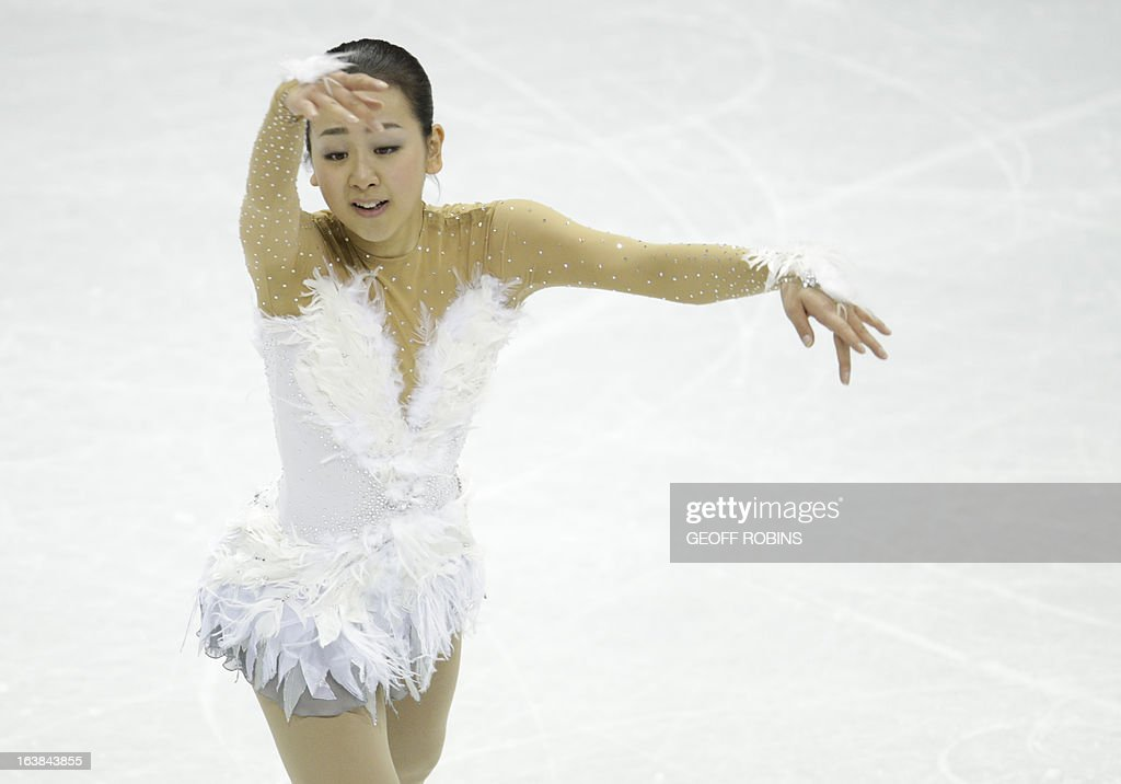 Mao Asada representing Japan skates her free program in the women's competition at the 2013 World Figure Skating Championships in London, Ontario, March 16, 2013. AFP PHOTO/Geoff Robins