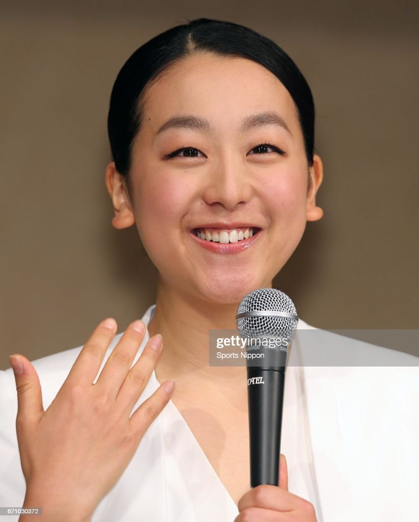 Mao Asada, three-time world figure skating champion and silver medalist at the 2010 Vancouver Olympics, smiles during the press conference to announce her retirement from the figure skating career on April 12, 2017 in Tokyo, Japan.
