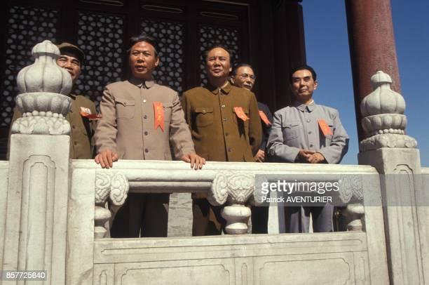 Mao et Zhou En Lai sur le plateau d'un film retracant la vie de Mao Tse Toung mis en scene par Cai Jiwei en octobre 1993 en Chine