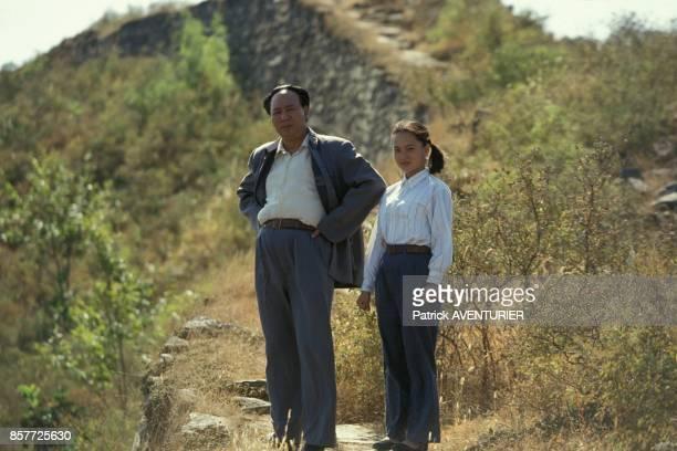 Mao incarne par Gu Yue et sa fille sur la Grande Muraille en 1951 une scene du film retracant la vie de Mao Tse Toung mis en scene par Cai Jiwei en...