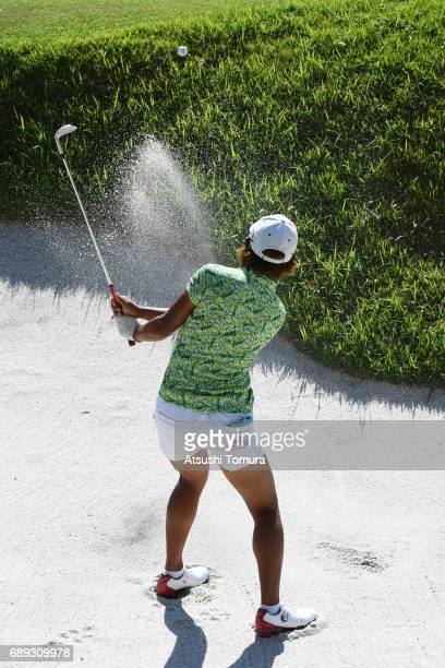 Mao Nozawa of Japan hits from a bunker on the 18th hole during the final round of the Resorttrust Ladies at the Oakmont Golf Club on May 28 2017 in...