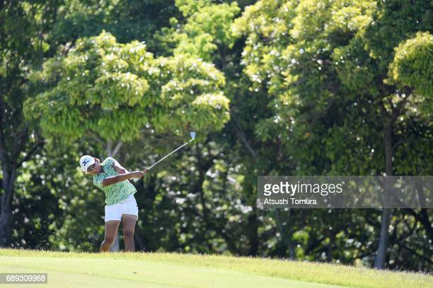 Mao Nozawa of Japan hits her second shot on the 18th hole during the final round of the Resorttrust Ladies at the Oakmont Golf Club on May 28 2017 in...