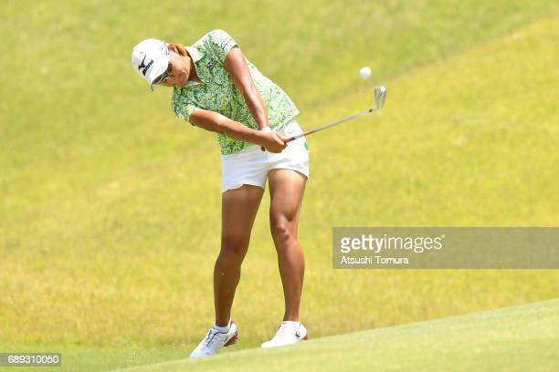 Mao Nozawa of Japan hits her second shot on the 6th hole during the final round of the Resorttrust Ladies at the Oakmont Golf Club on May 28 2017 in...