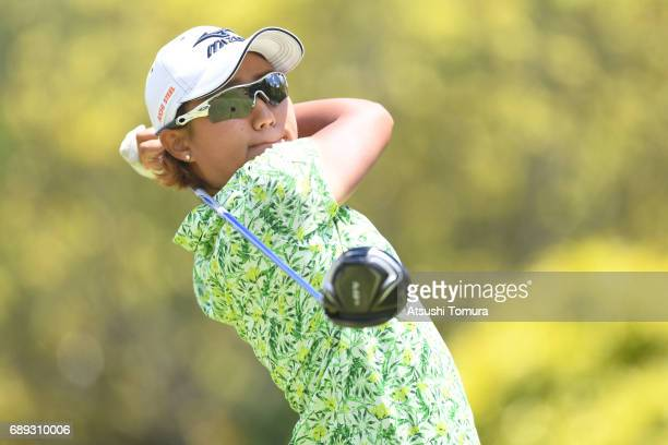 Mao Nozawa of Japan hits her tee shot on the 7th hole during the final round of the Resorttrust Ladies at the Oakmont Golf Club on May 28 2017 in...