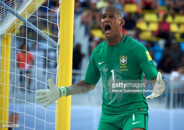 Mao of Brazil reacts during the FIFA Beach Soccer World Cup Bahamas 2017 group D match between Brazil and Tahiti at Bahamas Beach Stadium on April 28...