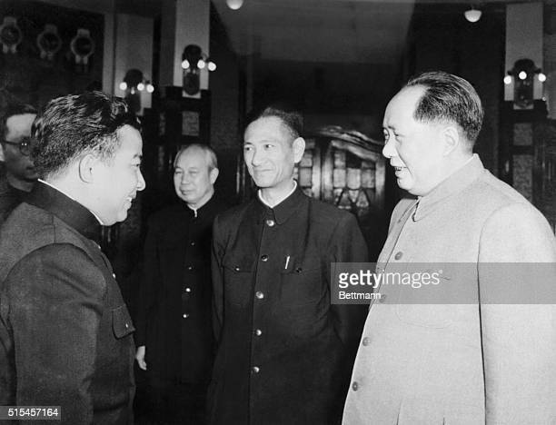 Mao Zedong Chairman of the People's Republic of China chats with Prince Norodom Sihanouk during the Cambodian Premier's state visit