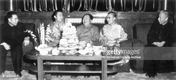 Mao Zedong Chinese Communist Party Chairman Liu Shao qi Zhou Enlai meet with the Dalai Lama and the Panchen Lama 1955