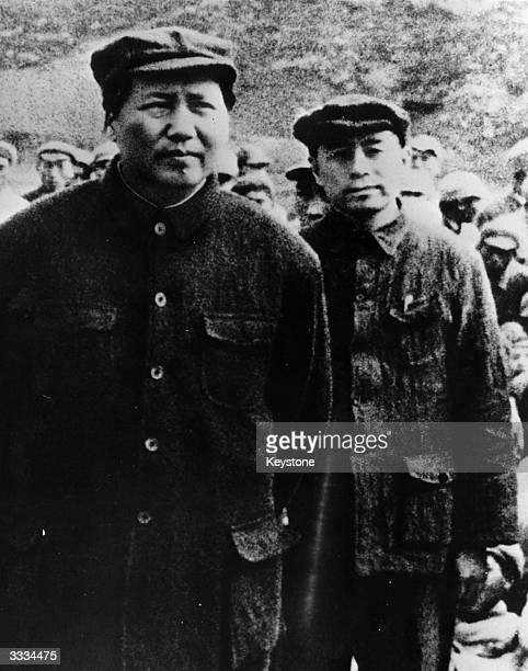 Mao Zedong with Zhou Enlai leaders of the Chinese Communist party during the 'Long March' when approximately 100000 communists under Mao walked over...