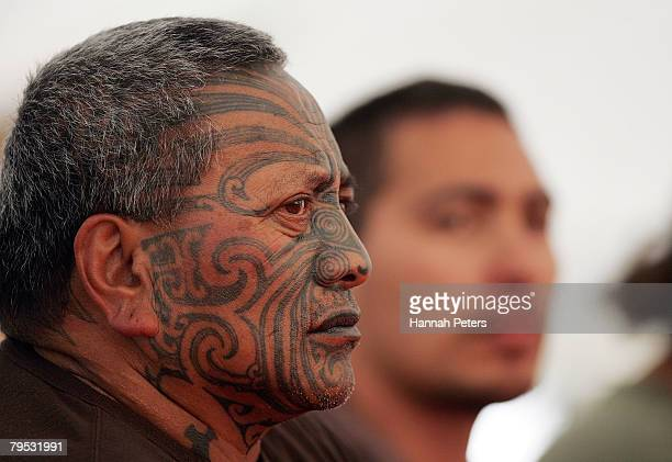 Maori Activist Tame Iti speaks at a press conference on Waitangi Day on February 6 2008 in Waitangi New Zealand Waitangi Day is the national day of...