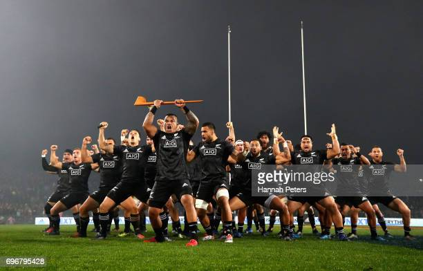 Maori All Blacks perform the Haka prior to the 2017 British Irish Lions tour match between the Maori All Blacks and the British Irish Lions at the...