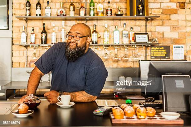 Maori Businessman Working in a New Zealand Bar or Cafe