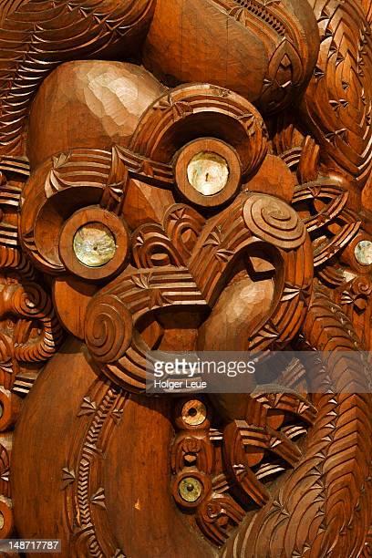 Maori carving in Meeting House at Waitangi National Trust.