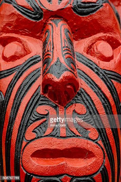 Maori carving of human face (tekoteko)