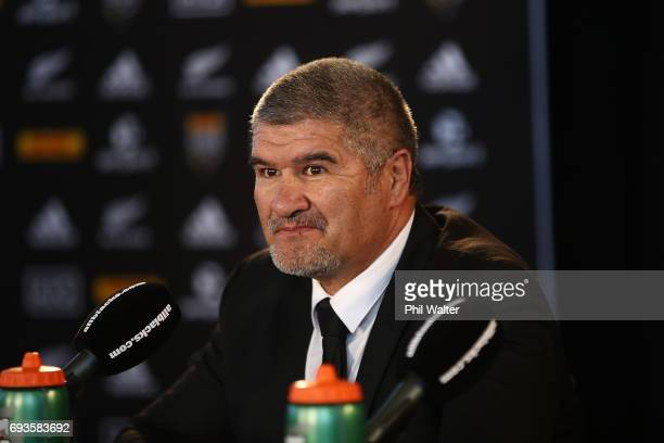 Maori coach Colin Cooper speaks to the media during the All Blacks Maori All Blacks New Zealand Lions Series Squads Announcement at Butler Hall on...