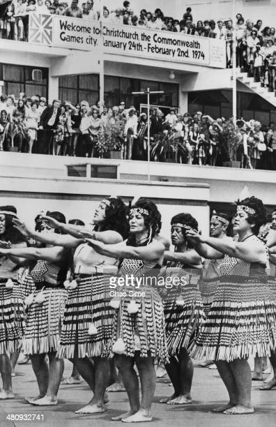 A Maori concert group performing a haka at the opening ceremony of the British Commonwealth Games at the Queen Elizabeth II Park in Christchurch New...