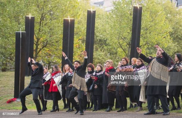 Maori cultural group perform a haka at the New Zealand War Memorial at Hyde Park Corner during an Anzac Day dawn service on April 25 2017 in London...
