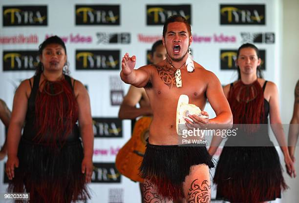 Maori cultural group performs at the Tyra Banks Global BIO Summit at The Wharf on December 16 2009 in Auckland New Zealand