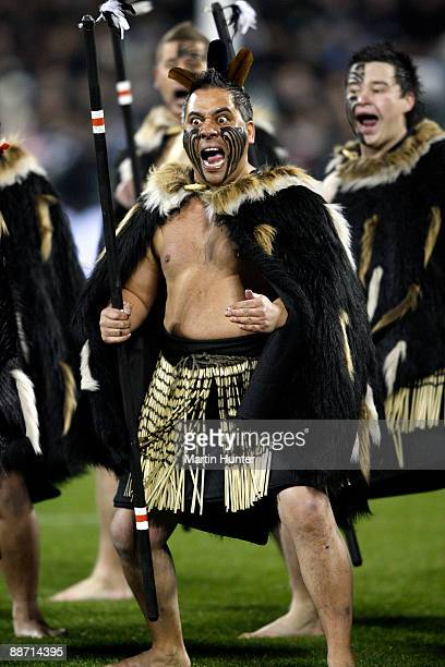 Maori entertainment group performs at the start of the Iveco Series test match between the New Zealand All Blacks and Italy at AMI Stadium on June 27...