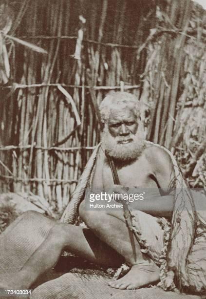 A Maori man holding a hunting spear New Zealand circa 1870