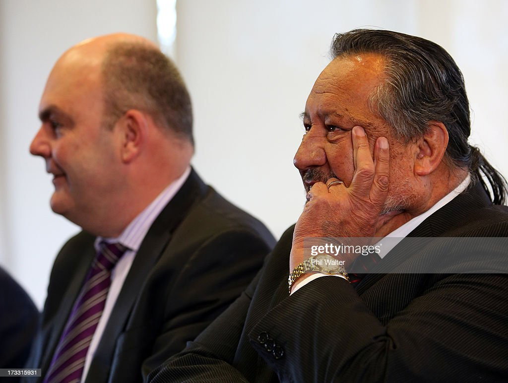 Maori Party co-leader Pita Sharples (R) and Tertiary Education, Skills and Employment Minister Steven Joyce (L) look on as Prime Minister <a gi-track='captionPersonalityLinkClicked' href=/galleries/search?phrase=John+Key&family=editorial&specificpeople=2246670 ng-click='$event.stopPropagation()'>John Key</a> speaks at the Auckland University of Technology's Manukau Campus on July 12, 2013 in Auckland, New Zealand. The Government today announced a major expansion to the Manukau Campus, which will see the number of full time students increase from the current 940 to 4100 by 2020.