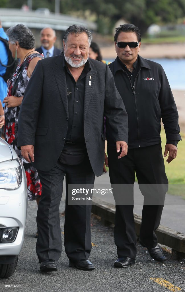 Maori Party co-leader Pita Sharples (L) arrives at Te Tii Marae on February 5, 2013 in Waitangi, New Zealand. The Waitangi Day national holiday celebrates the signing of the treaty of Waitangi on February 6, 1840 by Maori chiefs and the British Crown, that granted the Maori people the rights of British Citizens and ownership of their lands and other properties.