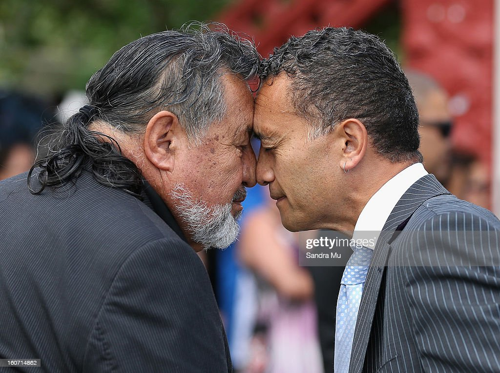 Maori Party co-leader Pita Sharples (L) is welcomed with a hongi (nose press) at Te Tii Marae on February 5, 2013 in Waitangi, New Zealand. The Waitangi Day national holiday celebrates the signing of the treaty of Waitangi on February 6, 1840 by Maori chiefs and the British Crown, that granted the Maori people the rights of British Citizens and ownership of their lands and other properties.