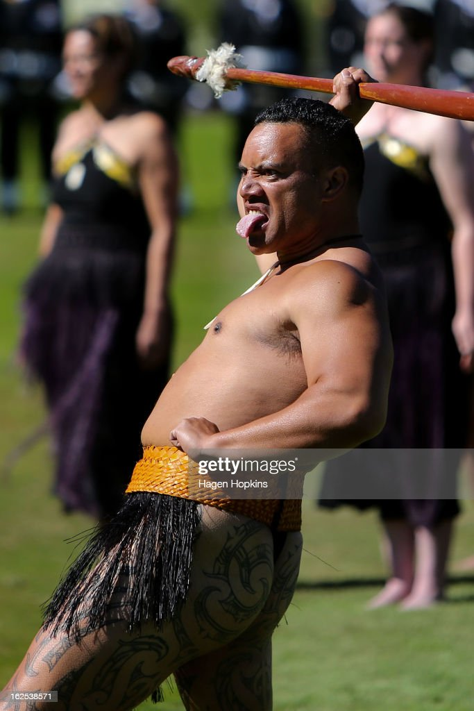 A Maori performer greets King Tupou VI with a powhiri during a State Welcome at Government House on February 25, 2013 in Wellington, New Zealand. The King of Tonga, His Majesty King Tupou VI, is in New Zealand making his first official state visit.