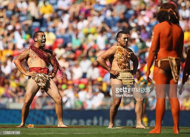 Maori performers dance before the start of the International Test match between the Australian Kangaroos and the New Zealand Kiwis at Ausgrid Stadium...