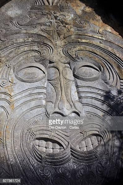 Maori rock carvings at mine bay lake taupo new zealand