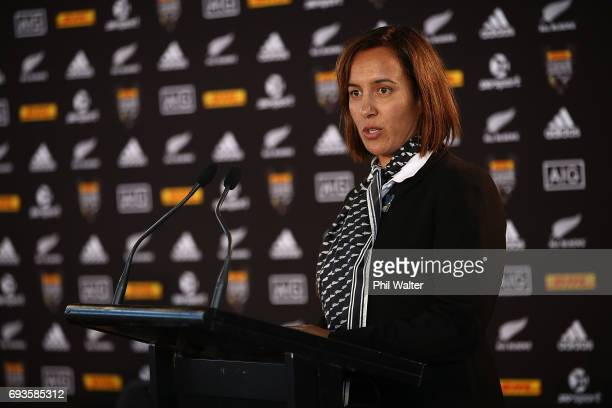 Maori Rugby Board Chair Dr Farah Palmer speaks to the media during the All Blacks Maori All Blacks New Zealand Lions Series Squads Announcement at...