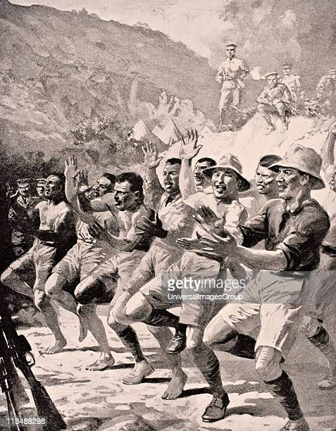 Maori soldiers perform a Haka at Gaba Tepe on the Gallipoli Peninsula Turkey 1915 From The War Illustrated Album deLuxe published London 1916