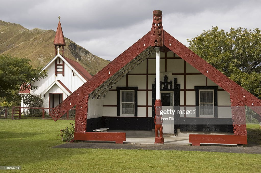 Maori village with meeting house on Wanganui River Road.