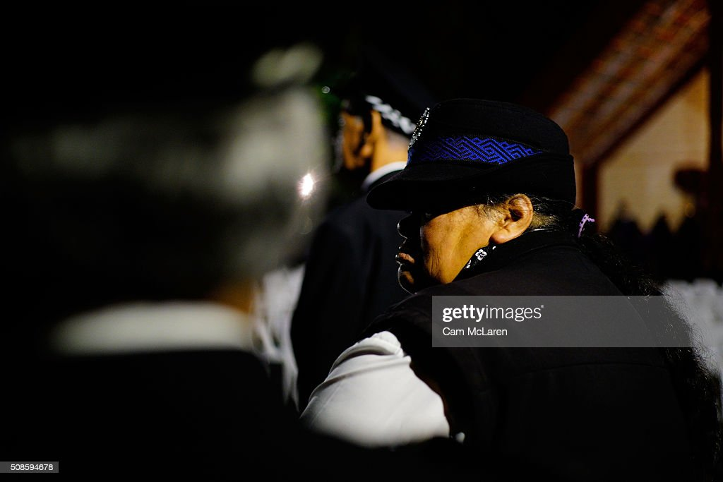 Maori Wardens at the Dawn Service on February 6, 2016 in Waitangi, New Zealand. The Waitangi Day national holiday celebrates the signing of the treaty of Waitangi on February 6, 1840 by Maori chiefs and the British Crown, that granted the Maori people the rights of British Citizens and ownership of their lands and other properties.