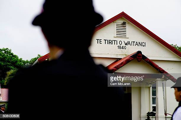 Maori wardens await the arrival of guests to the Marae on February 5 2016 in Waitangi New Zealand The Waitangi Day national holiday celebrates the...