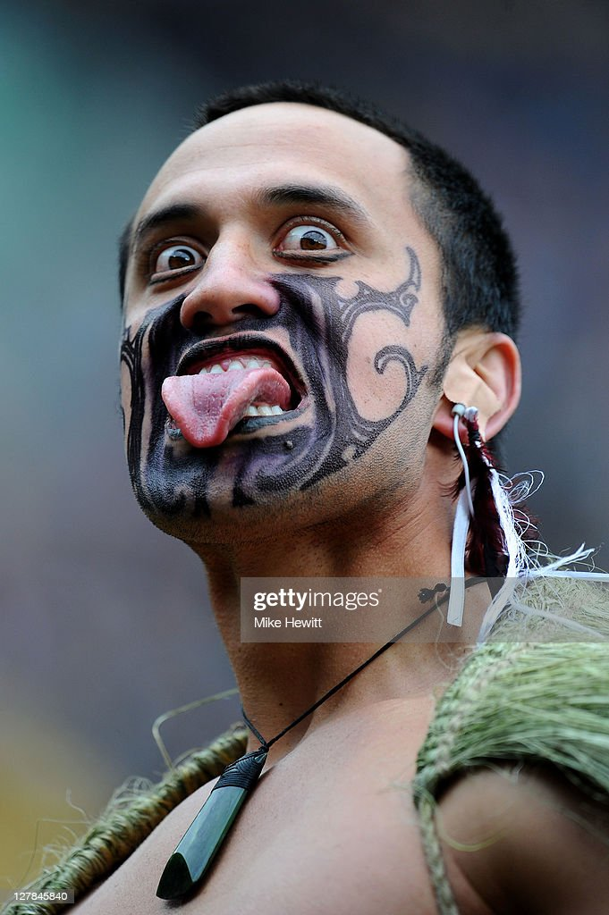 Maori Warrior issues a challenge prior to kickoff during the IRB Rugby World Cup Pool A match between New Zealand and Canada at Wellington Regional...