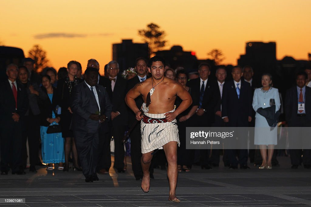 A Maori warrior lays down a challenge to delegates at the War Museum on September 6, 2011 in Auckland, New Zealand. The annual gathering of leaders of the pacific nations has attracted heavyweight list of guests this year including United Nations Secretary General Ban Ki-moon, European Commission President Jose Manuel Barroso, the French Foreign Minister and the US Deputy Secretary of State. The forum conclusion coincides with the Opening Ceremony of the Rugby World Cup.