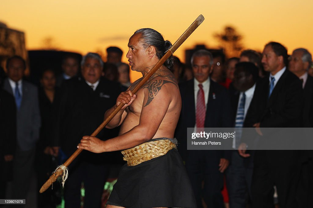 A Maori warrior leads delegates into the War Museum on September 6, 2011 in Auckland, New Zealand. The annual gathering of leaders of the pacific nations has attracted heavyweight list of guests this year including United Nations Secretary General Ban Ki-moon, European Commission President Jose Manuel Barroso, the French Foreign Minister and the US Deputy Secretary of State. The forum conclusion coincides with the Opening Ceremony of the Rugby World Cup.