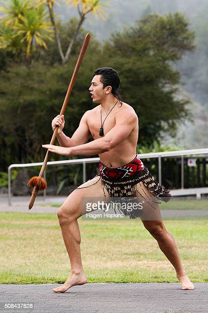 Maori warrior performs as part of a powhiri during the official race welcome for the Tarawera Ultramarathon at Te Aronui a Rua Marae on February 5...