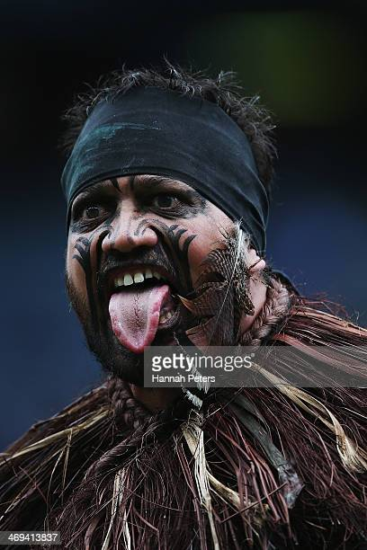 Maori warrior performs during the opening ceremony prior to the start of the Auckland NRL Nines at Eden Park on February 15 2014 in Auckland New...