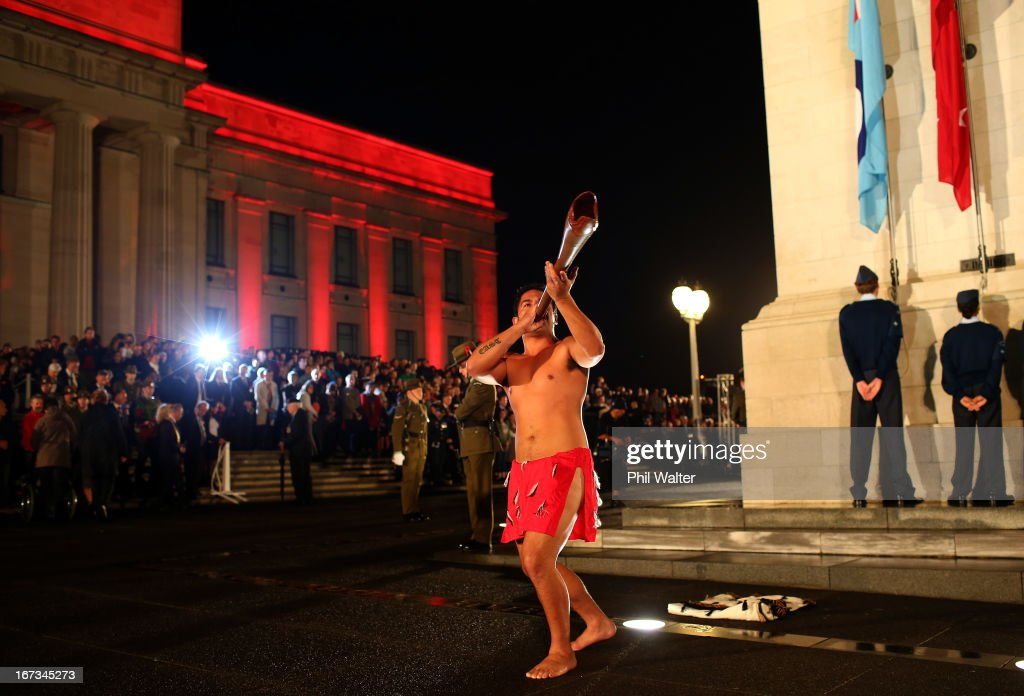 A maori warrior plays the Pukaea ( Maori trumpet) at the Cenotaph during the ANZAC Day Dawn Service at the Auckland War Memorial Museum on April 25, 2013 in Auckland, New Zealand. Veterans, dignitaries and members of the public today marked the 98th anniversary of ANZAC (Australia New Zealand Army Corps) Day, April 25, 1915 when allied New Zealand and Australian First World War forces landed on the Gallipoli Peninsula. Commemoration events are held across both countries in remembrance of those who fought and died in all wars.