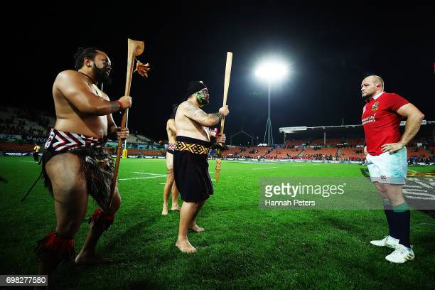 Maori warrior presents the match Taiaha to Rory Best of the Lions after the match between the Chiefs and the British Irish Lions at Waikato Stadium...