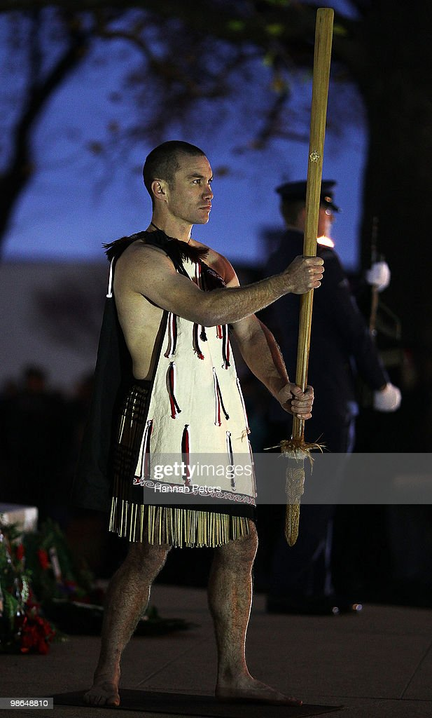 A Maori warrior stands guard during the ANZAC Day Dawn Service on April 25, 2010 in Dunedin, New Zealand. Veterans, dignitaries and members of the public today marked the 95th anniversary of ANZAC (Australia New Zealand Army Corps) Day, when First World War troops landed on the Gallipoli Peninsula, Turkey early April 25, 1915, commemorating the event with ceremonies of remembrance for those who fought and died in all wars.