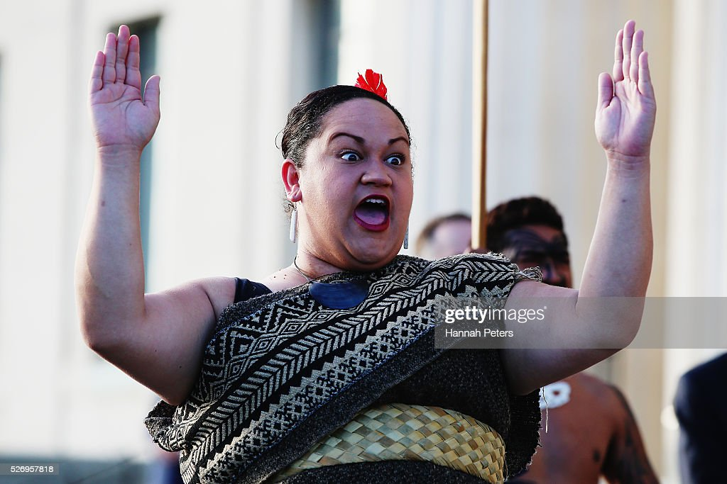A Maori warrior welcomes French Prime Minister Manuel Valls at a welcome ceremony at the Auckland museum on May 2, 2016 in Auckland, New Zealand. It is the first time in 25 years that a French Prime Minister has visited New Zealand.