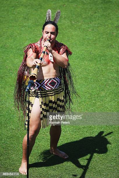 Maori warrior welcomes the team onto the field prior to the 2015 ICC Cricket World Cup match between South Africa and Zimbabwe at Seddon Park on...